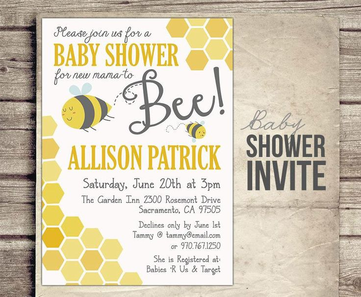 Mommy to Bee Baby Shower Invitation - Digital Baby Shower Invite - Parents to Bee Baby Shower -Bee Neutral Theme - Printable by StudioTwentyNine on Etsy https://www.etsy.com/listing/197019788/mommy-to-bee-baby-shower-invitation