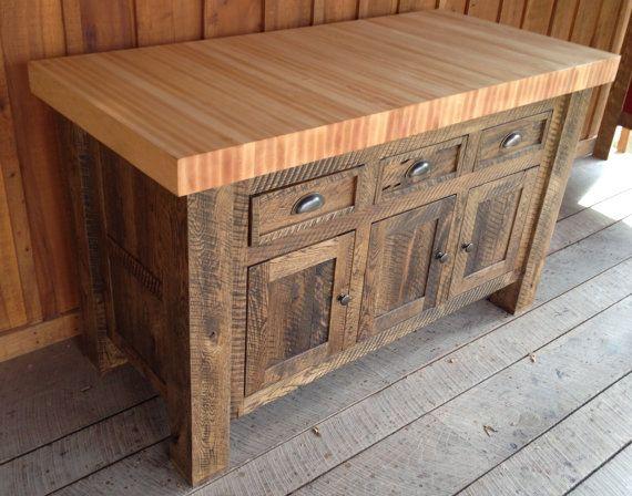 Dark Oak Butcher Block Kitchen Island by 2ndCenturyFurniture, $1499 00