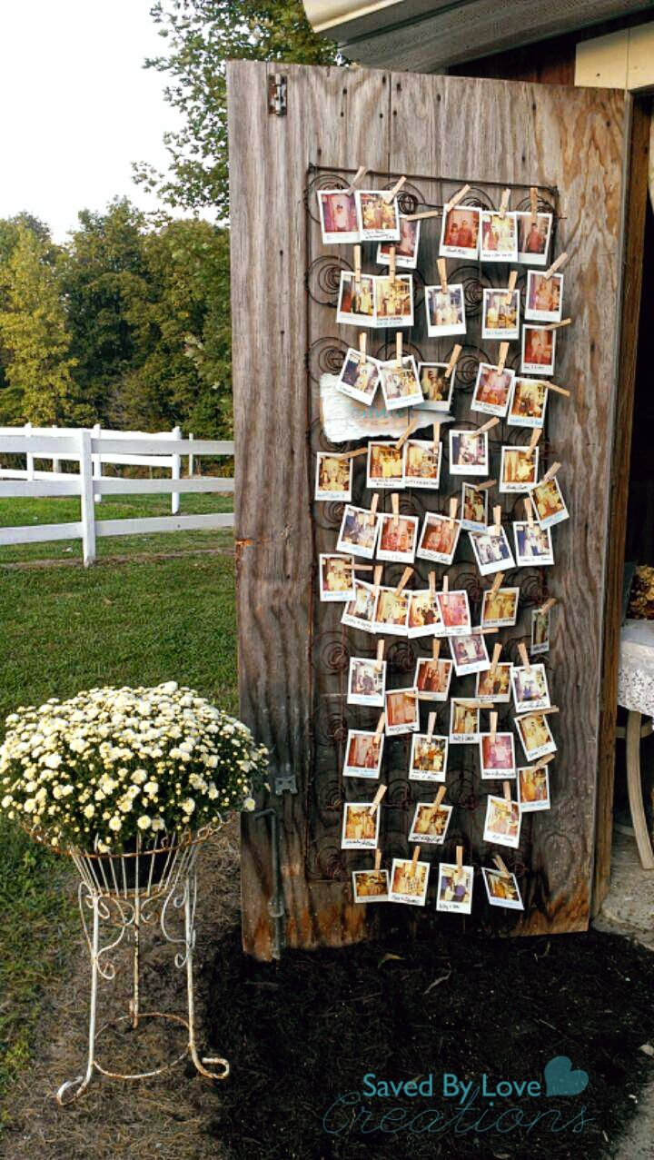 Repurposed vintage wedding decor idea: vintage rusty spring as Polaroid photo display @savedbyloves