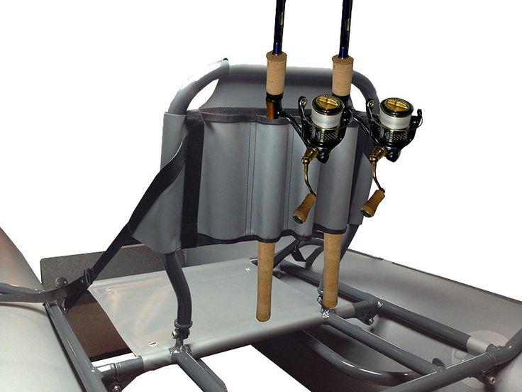 Держатель для удочек на спинку сиденья складного E280 катамарана Ондатра  Держатель из ПВХ ткани для 4-х удочек. Крепится с помощью стропы и пряжек-самосбросов на спинку сиденья. Предназначен для перевозки 4-х удочек. Цвета - серый, зеленый, камуфляж, черный.