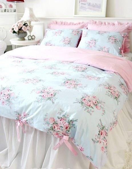Shabby and Elegant Blue Rose Pink Gingham 4pc Duvet Cover Set | eBay