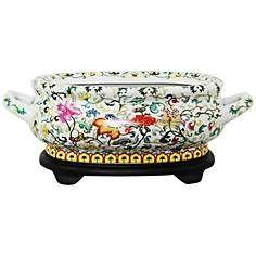 Multi-Floral Porcelain Footbath with Base