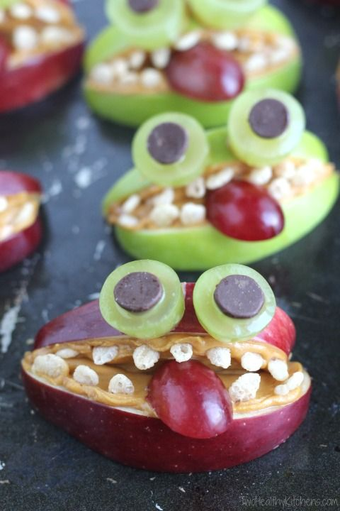 Apple Monsters – An Allergy-Friendly, Healthy Halloween Treat! {www.TwoHealthyKitchens.com}