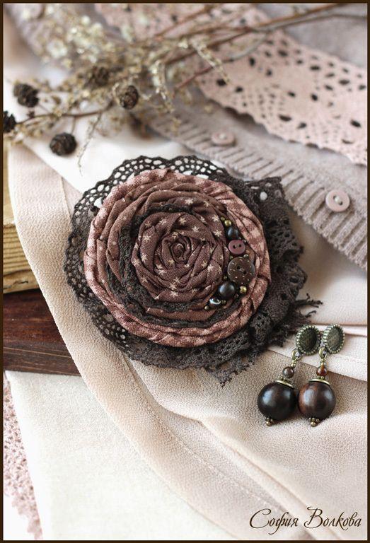 """Комплект """"Мокко"""" - коричневый,шоколад,кофе,темно-коричневый,текстильная брошь"""