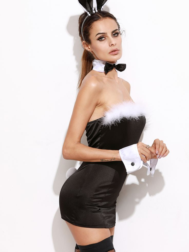 Shop Black Bandeau Bodycon Dress Bunny Costume For Halloween online. SheIn offers Black Bandeau Bodycon Dress Bunny Costume For Halloween & more to fit your fashionable needs.