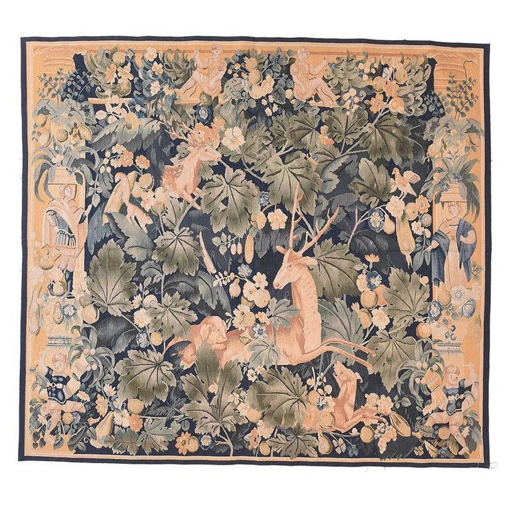 1stdibs Tapestry – Fine Vintage Pictorial Hand Knotted Circa French Other Wool