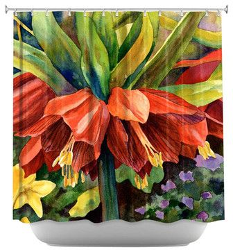 Fritillaria Shower Curtain - contemporary - Shower Curtains - DiaNoche Designs