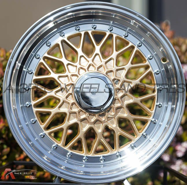 16X8 JNC 004 WHEELS 4X100/114.3 +25 GOLD W/ML RIMS FITS VW JETTA FOX HONDA CIVIC   cars/hondas ...