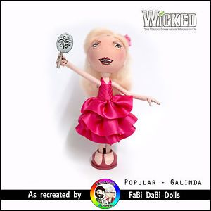 galinda / glinda - wicked the musical popular peg doll by fabi dabi dolls available now on our ebay store