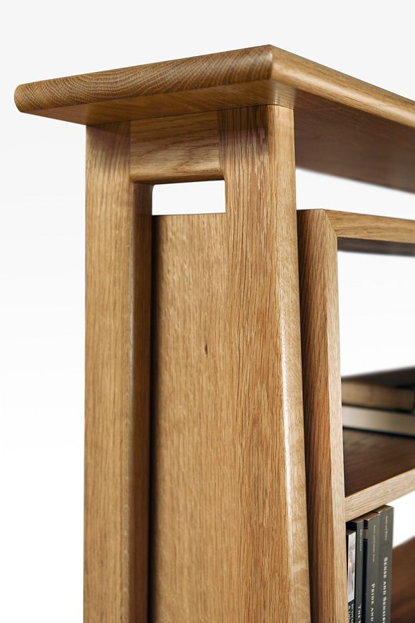 detail of Mid Century Bookcase in American Oak solids.