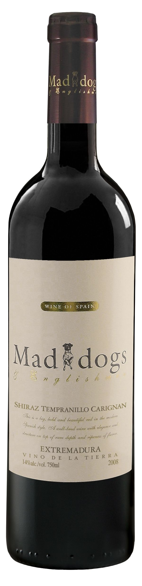 """Enjoyed this """"Mad Dogs & Englishmen"""" Spanish wine last night. A big (dry) red that blends Shiraz, Tempranillo, and Carignan."""
