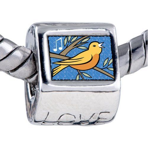 Pugster Calling Birds Photo Storybook Love Beads Gift Fits Pandora Charm Bracelet Pugster. $12.49. Hole size is approximately 4.8 to 5mm. Bracelet sold separately. Fit Pandora, Biagi, and Chamilia Charm Bead Bracelets. Unthreaded European story bracelet design. It's the photo on the love charm