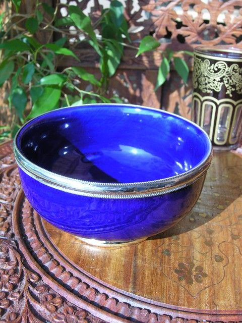 Moroccan bowl with silver in blue. http://www.maroque.co.uk/showitem.aspx?id=ENT06370&s=30-10-128