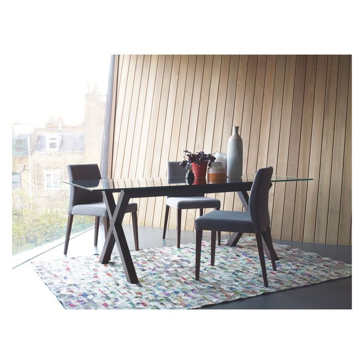 ELODI Grey upholstered dining chair with walnut stain legs | Buy now at Habitat UK