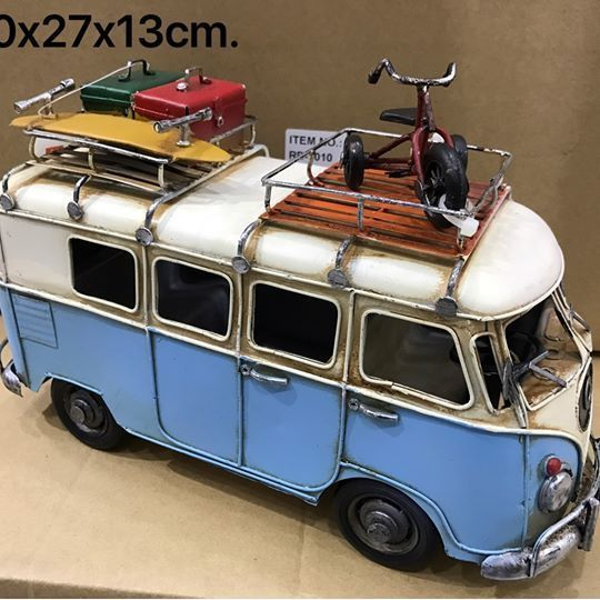 1960s Volkswagen VW MICRO BUS Light BLUE DIECAST METAL MODEL CAR Handmade Craft  Van Bus conveyances include a suitcase box and sports stuff ,three wheel bicycle for kids on the roof Adds variety to your Showcase at your home or for shop decor.   Makes a great gift. This is a handmade craft made in Thailand, and as a result of this, they may differ somewhat from the photo as every one is made piece by piece.