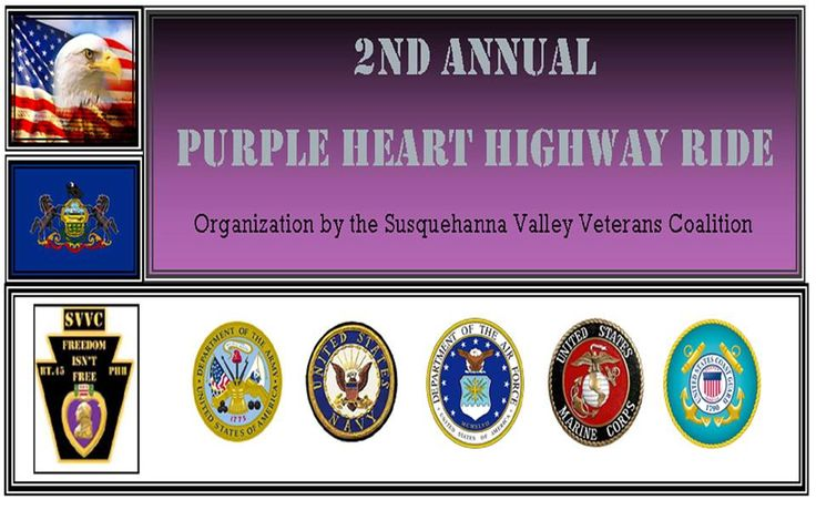 Lewisburg, PA-Sept 3, 2016: 2nd Annual Purple Heart Highway Run. 100% of all Donations to go to PA Wounded Warriors.