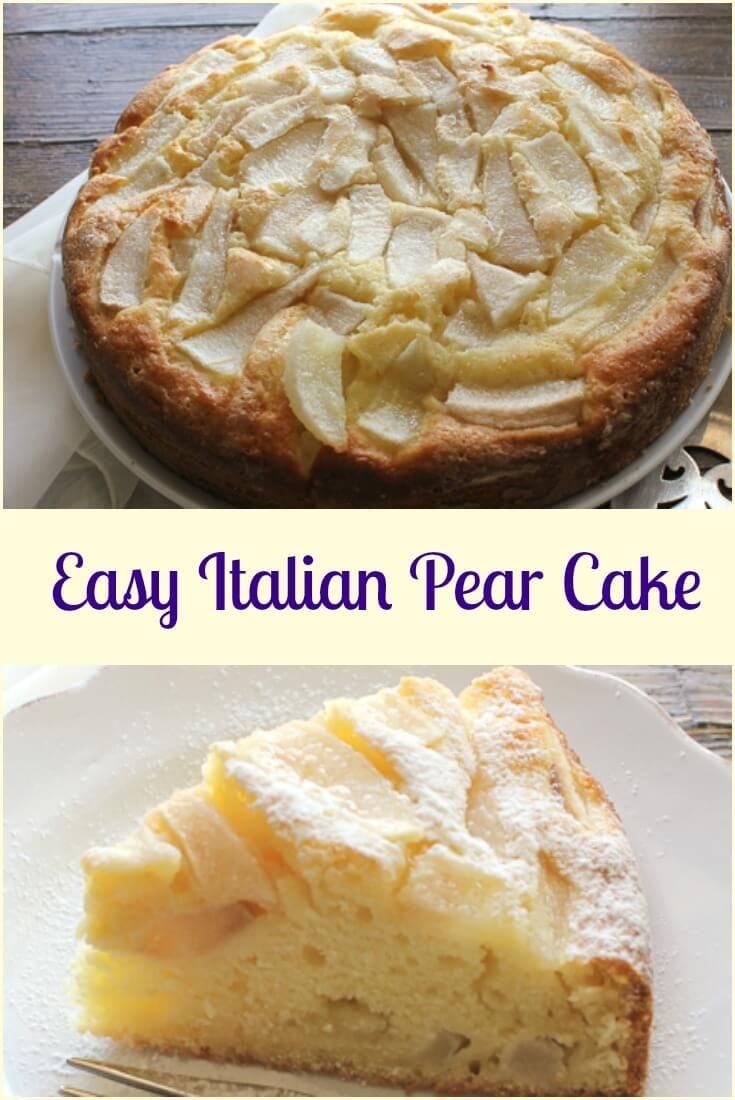 Easy Italian Pear Cake, a delicious moist Italian cake made with fresh pears and mascarpone. A perfect breakfast, snack or anytime cake recipe. via @https://it.pinterest.com/Italianinkitchn/