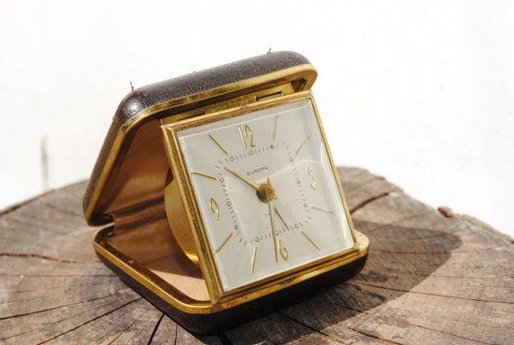 Travel alarm clock, vintage alarm clock, midcentury alarm clock,  Europa, real leather box, 2 jewels, cool mid century travel alarm clock