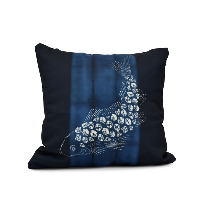 E by Design 16-inch Fish Pool Animal Print Pillow