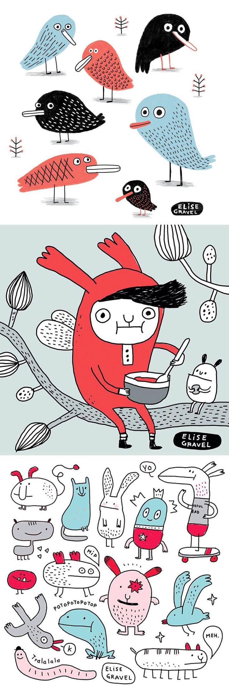 Elise Gravel Illustration • doodles • sketchbook • drawing • bird • character • monsters • cute • blue • red •