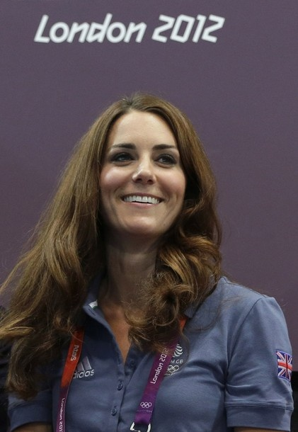 Kate, Duchess of Cambridge, watches the women's handball preliminary match between Croatia and Great Britain at the 2012 Summer Olympics, Sunday, Aug. 5, 2012, in London.