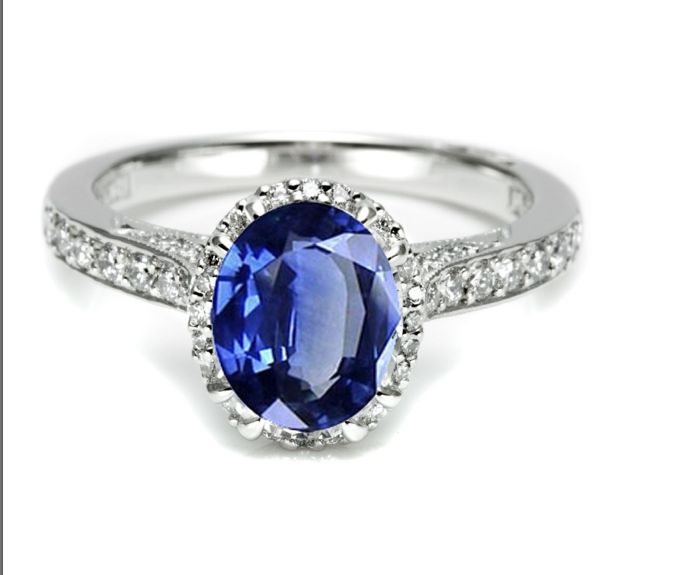 Saphirring mit Diamant und Weissgold