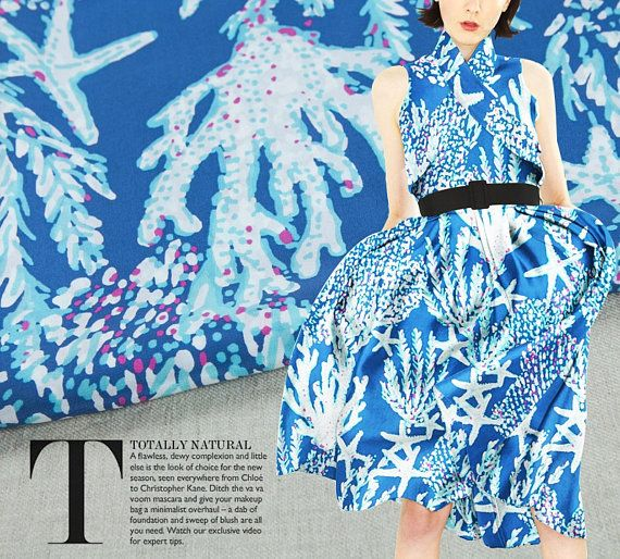 Printed crepe de chine pure silk fabric blue color starfish