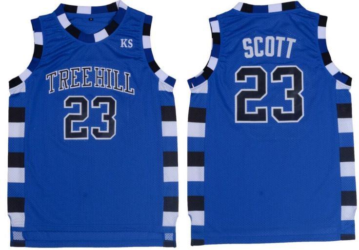 [Visit to Buy] Men's One Tree Hill Nathan Scott Stitched Basketball Shirt Jersey 23# Black White Blue Basketball Movie Jersey Throwback #Advertisement