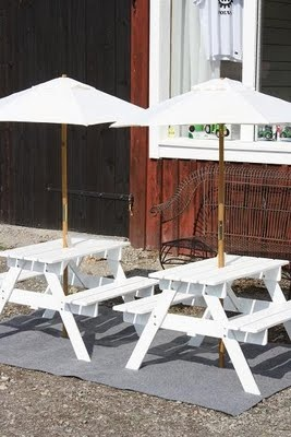 Tiny Picnic Tables With Umbrellas