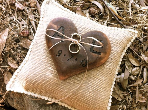 rustic wedding ring bearer pillow wooden heart burlap country rings holders