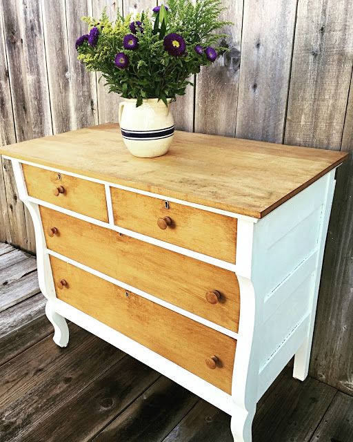 Lovely vintage dresser in natural wood and white - love love love this look!