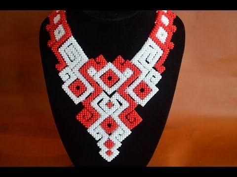 """Колье из бисера """"Нифертити"""". Бисероплетение. Мастер класс / Necklaces of beads. Beading - YouTube"""