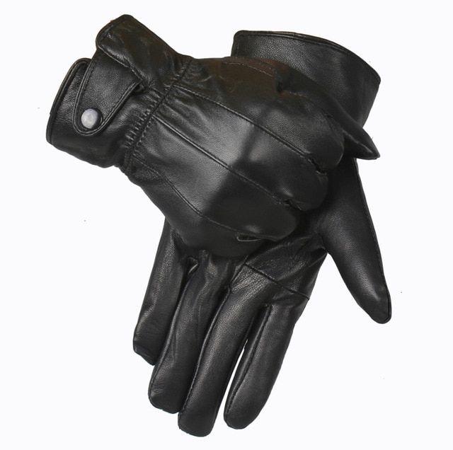 Genuine Sheepskin Leather Gloves Work Mittens Mens Winter Sport Black Gloves