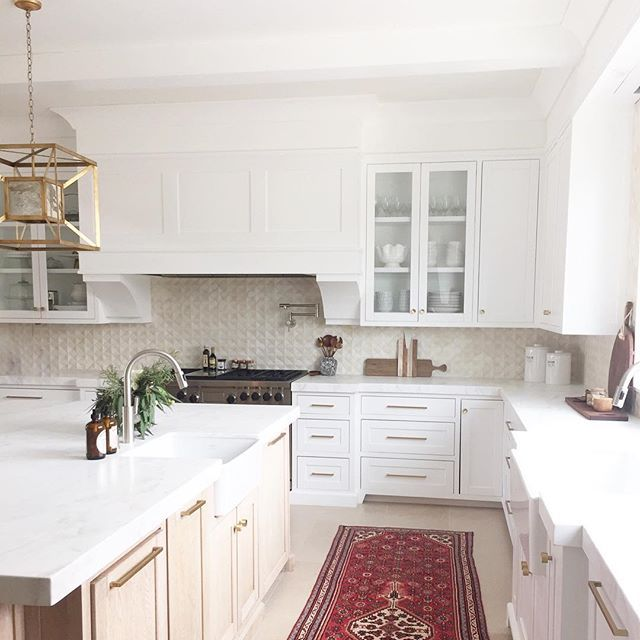 Vintage Runner In The Kitchen, White Cabinets And Gold
