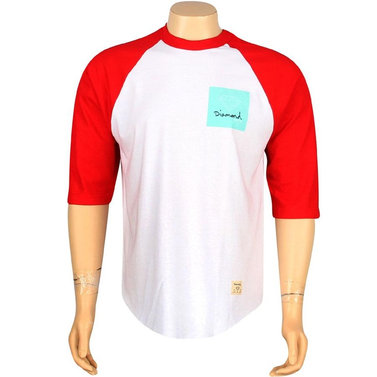 Diamond Supply Company OG Sign Raglan Tshirt in white and red