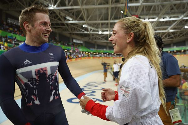 Laura Trott Photos - Gold medalist Jason Kenny of Great Britain celebrates with…