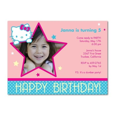 hello kitty 1st birthday invitation