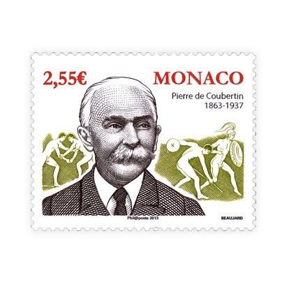 Monako vydalo pri príležitosti 150. výročia narodenia Pierra de Coubertina poštovú známku pripomínajúcu túto významnú osobnosť olympijského športu.