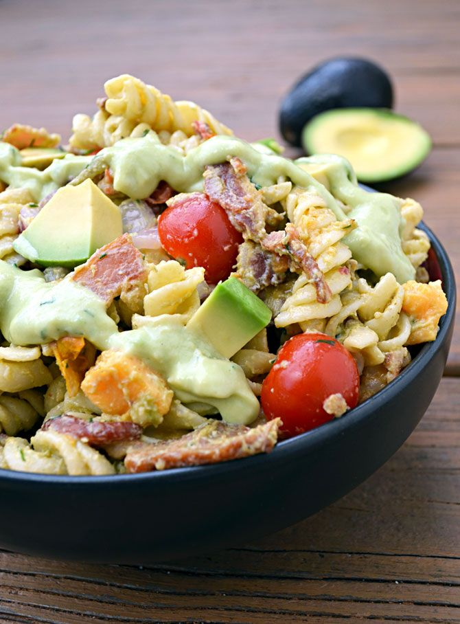 Recipe For Avocado Bacon Pasta Salad - Yes, you can get excited about pasta salad. You can especially get excited about pasta salad that features an avocado buttermilk ranch dressing and crispy, salty bacon…