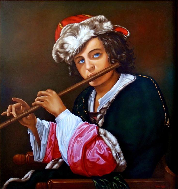 Chłopiec grający na flecie
