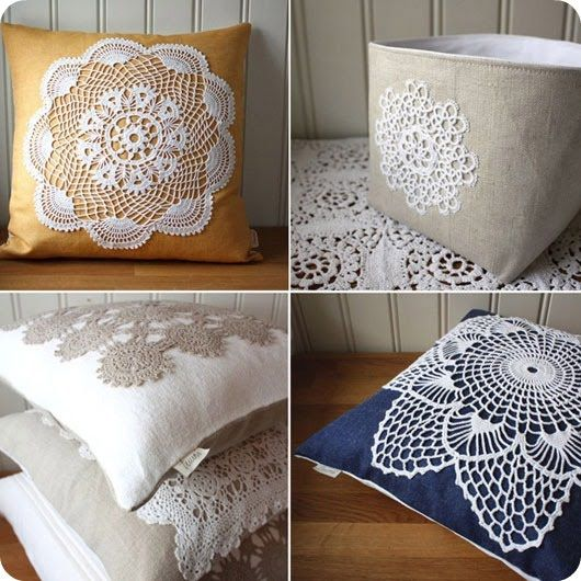 Dress up any plain throw pillow with stitching a doily to the front of it. Simple and attractive.