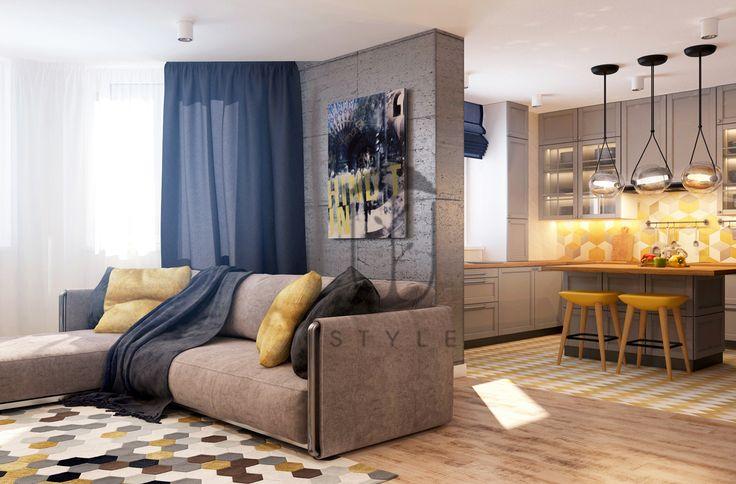 Гостиная совмещенная с кухней. Настенная живопись и сочного цвета текстиль оживляют пространство.