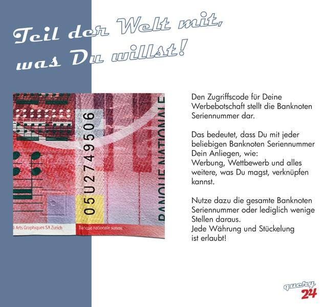 Die Banknoten Seriennummer ist vielseitig und bringt Glück!!!