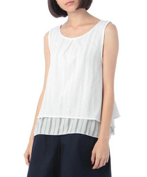 OZOC(オゾック)のノースリーブプルオーバー(Tシャツ/カットソー)|ホワイト系1