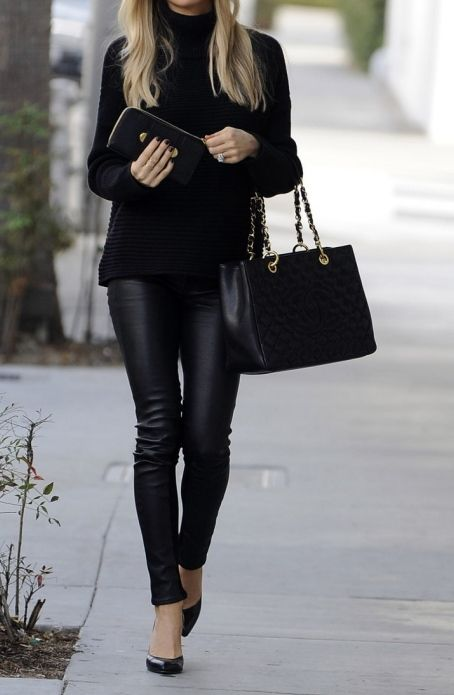 Sweater, leather pants and a Chanel bag