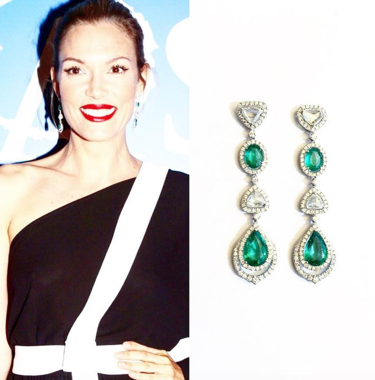 She is the queen of shine!  Model turned enterpreneur, Greek beauty and friend Vicky Kaya wore a dazzling pair of Danelian Diamond Club Emeralds to the 20 years gala of the Make A Wish Foundation at Zappeion Megaron.