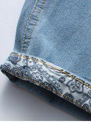 Casual Distressed Design Drawstring Waistband Denim Jeans Shorts For Men - LIGHT BLUE M Mobile