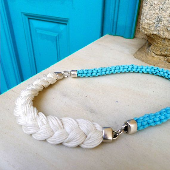summer rope necklace - braided necklace in turquoise and off white -  statement necklace in summer colors