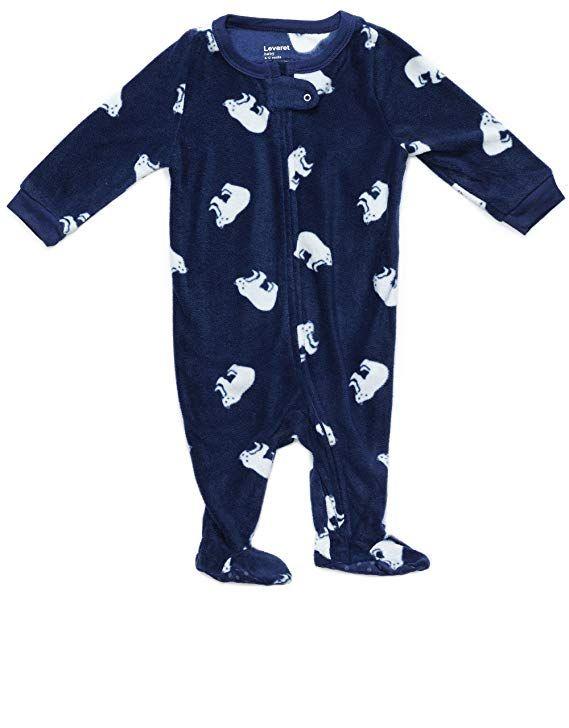 Leveret Kids Fleece Baby Boys Girls Footed Pajamas Sleeper Christmas Pjs  (Polar Bear d01c113aa