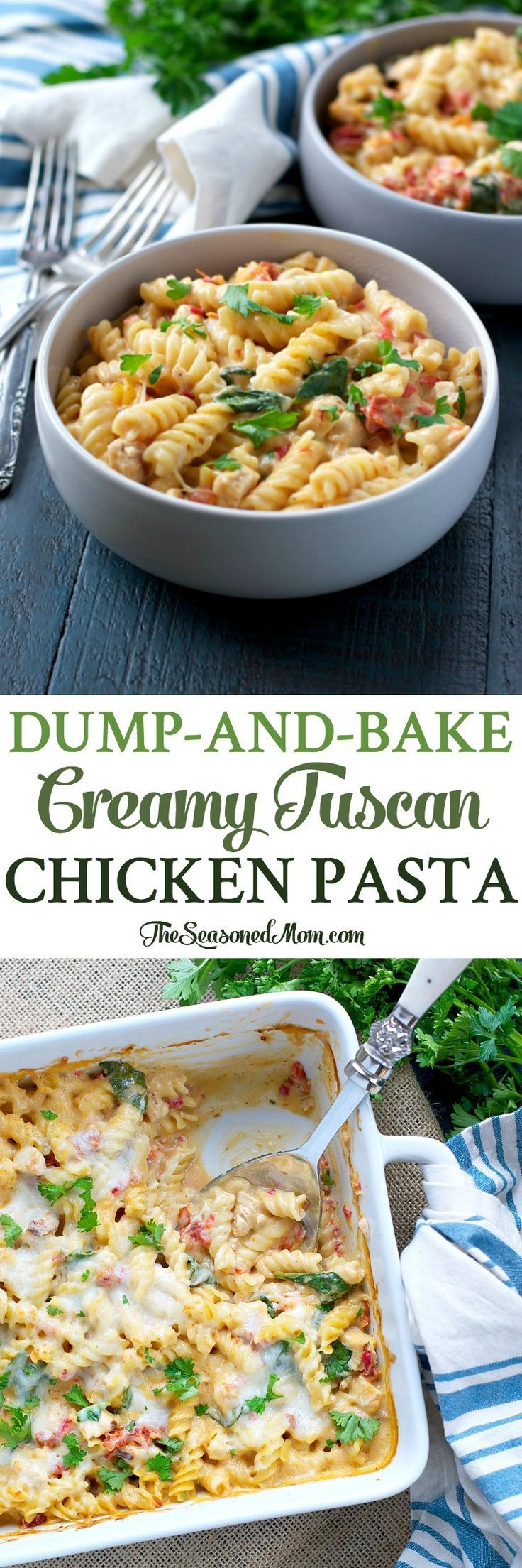 This Dump-and-Bake Creamy Tuscan Chicken Pasta is an easy dinner that everyone loves -- and you don't even have to boil the noodles!